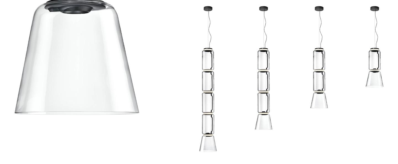 Suspension noctambule 2 cylindres bas cone transparent led 2700k 4750lm o36 5cm h127cm flos normal