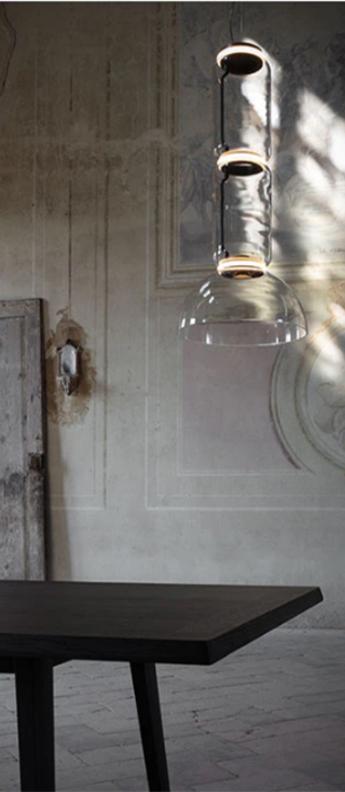 Suspension noctambule 2 cylindres bas coupole transparent led 2700k 4750lm o55cm h120cm flos normal