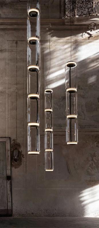 Suspension noctambule 4 cylindres hauts transparent led 2700k 4750lm o25cm h216cm flos normal