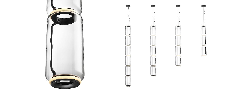 Suspension noctambule 5 cylindres bas transparent led 2700k 5940lm o25cm h229cm flos normal