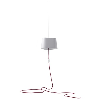 Suspension nomade petit nuage blanc rouge o24cm designheure normal