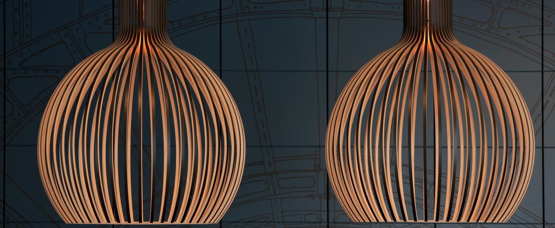 Suspension octo noyer h68cm secto design normal
