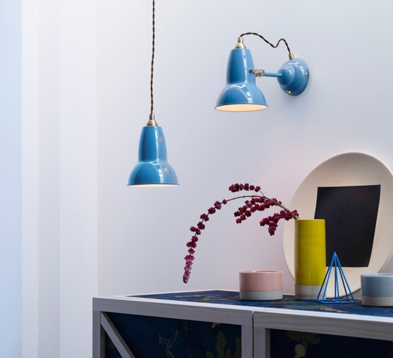 Suspension original 1227 brass bleu clair 15cm - Luminaire industriel la giant collection par anglepoise ...