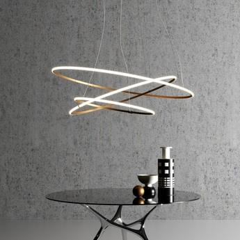 Suspension oympic f45 3 diffusers bronze bronze led 3000k 34850lm l138 7cm h138 7cm fabbian normal