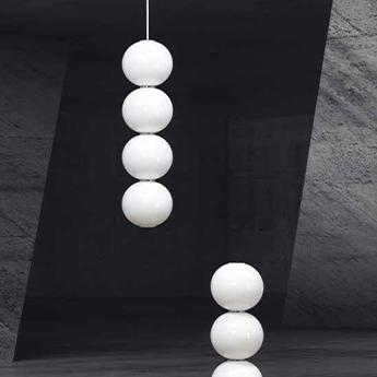 Suspension pearls 311 b blanc details chrome cable noir led 2700k 1200lm o10cm h340cm formagenda normal