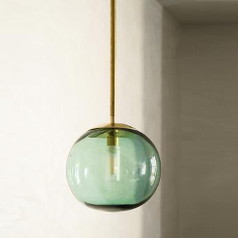 Suspension pendant ball verre transparent chrome o20cm h120cm contain normal