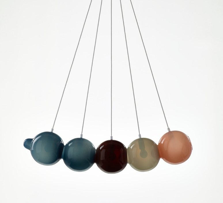 Pendulum 5 studio deform suspension pendant light  bomma pendulum5 2bleu 1rouge 1gris 1rose  design signed nedgis 82934 product