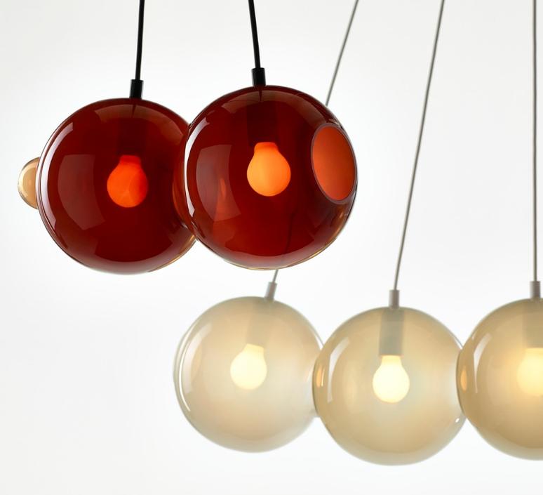 Pendulum 5 studio deform suspension pendant light  bomma pendulum5 2bleu 1rouge 1gris 1rose  design signed nedgis 82935 product