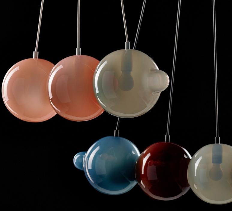Pendulum 5 studio deform suspension pendant light  bomma pendulum5 2bleu 1rouge 1gris 1rose  design signed nedgis 82936 product