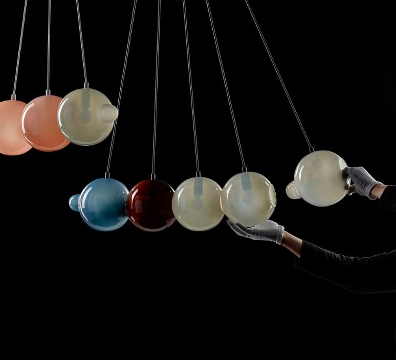 Pendulum 5 studio deform suspension pendant light  bomma pendulum5 2bleu 1rouge 1gris 1rose  design signed nedgis 82937 product