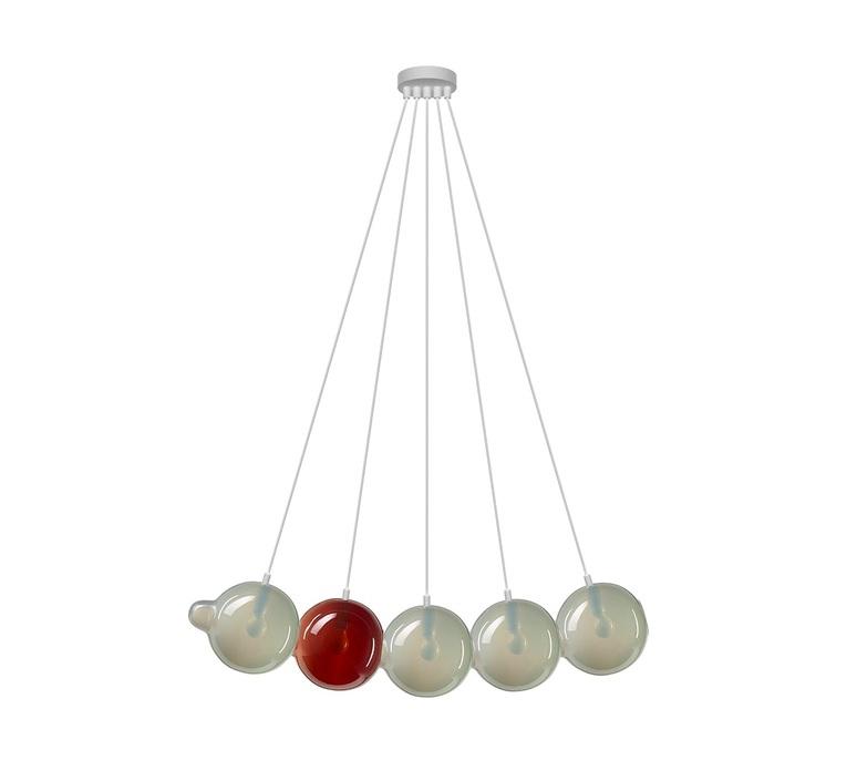 Pendulum 5 studio deform suspension pendant light  bomma pendulum5 4gris 1rouge  design signed nedgis 82963 product
