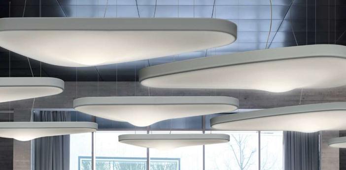Suspension petale d71p blanc led l137cm h6cm luceplan normal