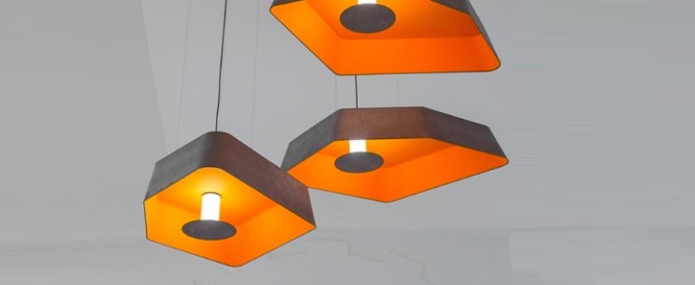 Suspension petit nenuphar led gris orange l90cm designheure normal