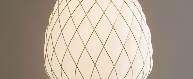 Suspension pinecone blanc chrome o30cm h36cm fontana arte normal