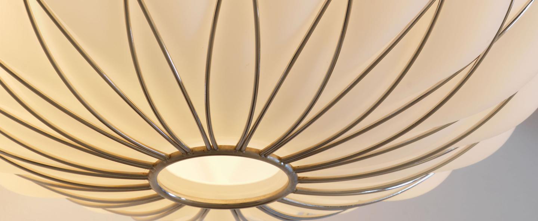 Suspension pinecone blanc chrome o50cm h52cm fontana arte normal