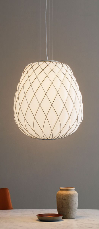 Suspension pinecone blanc chrome o50cm h52cm fontana arte normal