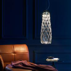 Pinecone paola navone suspension pendant light  fontana arte 4375tr chrome transparent  design signed nedgis 65695 thumb