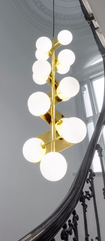 Suspension plane drop chandelier laiton o43cm h160cm tom dixon normal