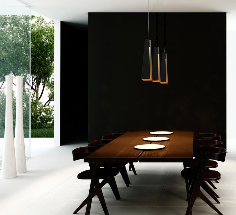 suspension pluma noir et or h36cm faro luminaires. Black Bedroom Furniture Sets. Home Design Ideas