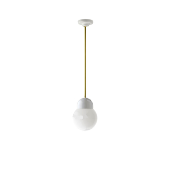 Suspension pure porcelaine glass 006 opalin laiton led o14 5cm h13cm zangra normal