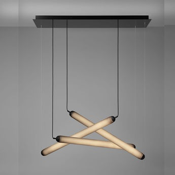 Suspension puro eclectic rectangular canopy small noir led 4000k 1080lm o80cm hcm brokis normal