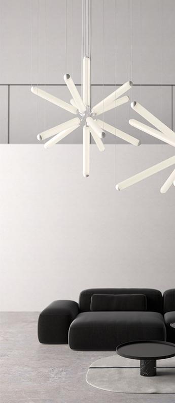 Suspension puro sparkle 600 dim ac phase cut verre blanc corps blanc rosace blanche cable blanc led 2700k 547lm o131cm h141cm brokis normal