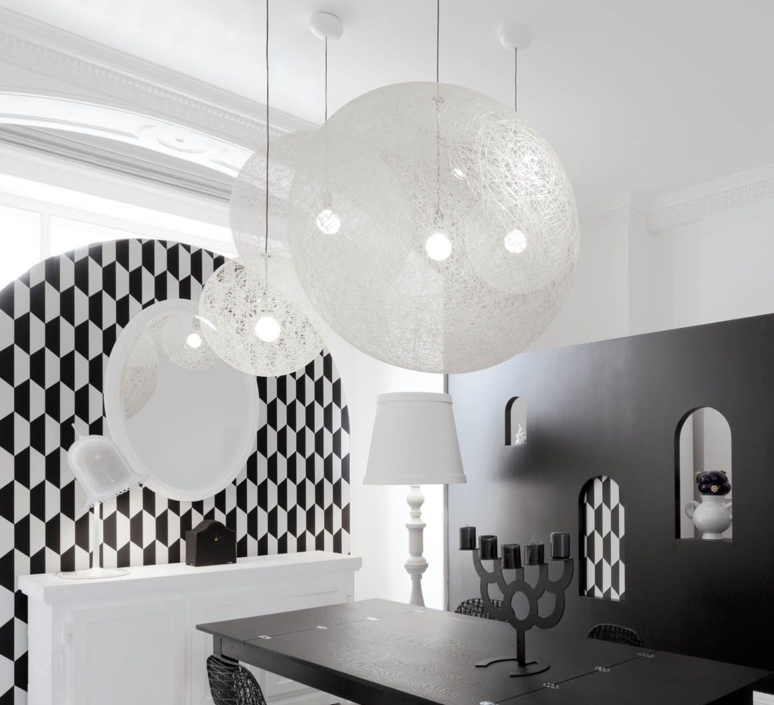 suspension random light l blanc 105cm h105cm moooi luminaires nedgis. Black Bedroom Furniture Sets. Home Design Ideas