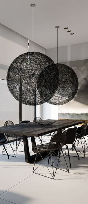 Suspension random light l noir led o105cm h105cm moooi normal