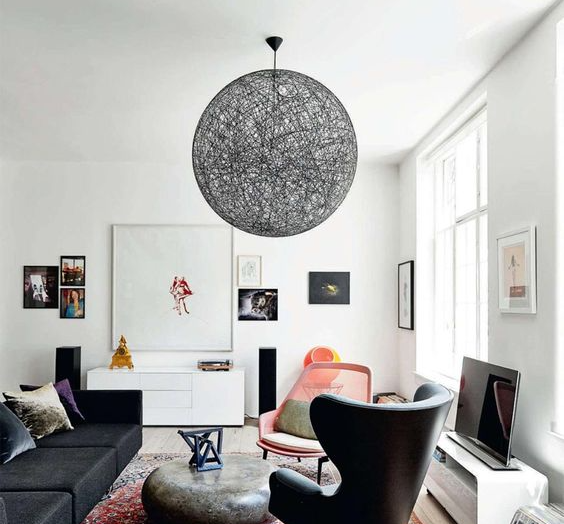 suspension random light m noir led 80cm h80cm moooi luminaires nedgis. Black Bedroom Furniture Sets. Home Design Ideas