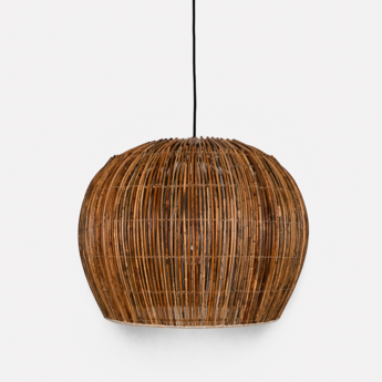 Suspension rattan bell s naturel o50cm h40cm ay illuminate normal