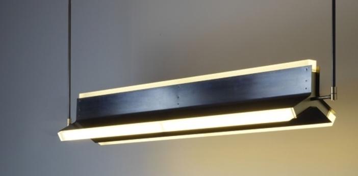 Suspension rayon noir et laiton led l170cm h23cm cto lighting normal