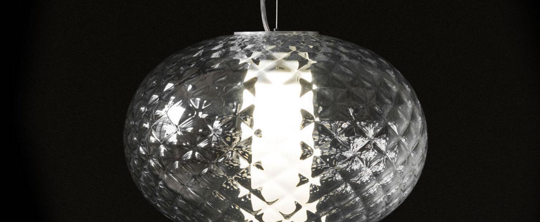 Suspension recuerdo 484 aluminium transparent led o32cm h22cm oluce normal