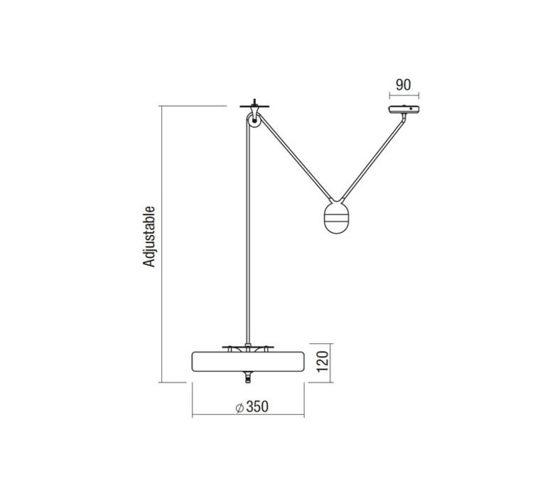 Revolve   suspension pendant light  bert frank revolve rise and fall pendant lamp white  design signed 36058 product
