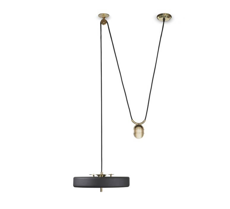 Revolve   suspension pendant light  bert frank revolve rise and fall pendant lamp black  design signed 36055 product