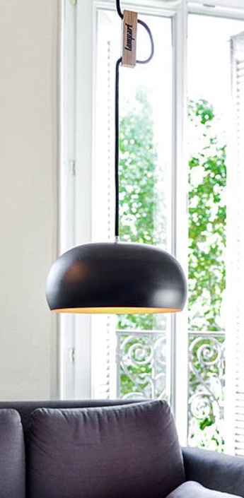 Suspension rhoda cl noir cuivre o25cm lampari normal