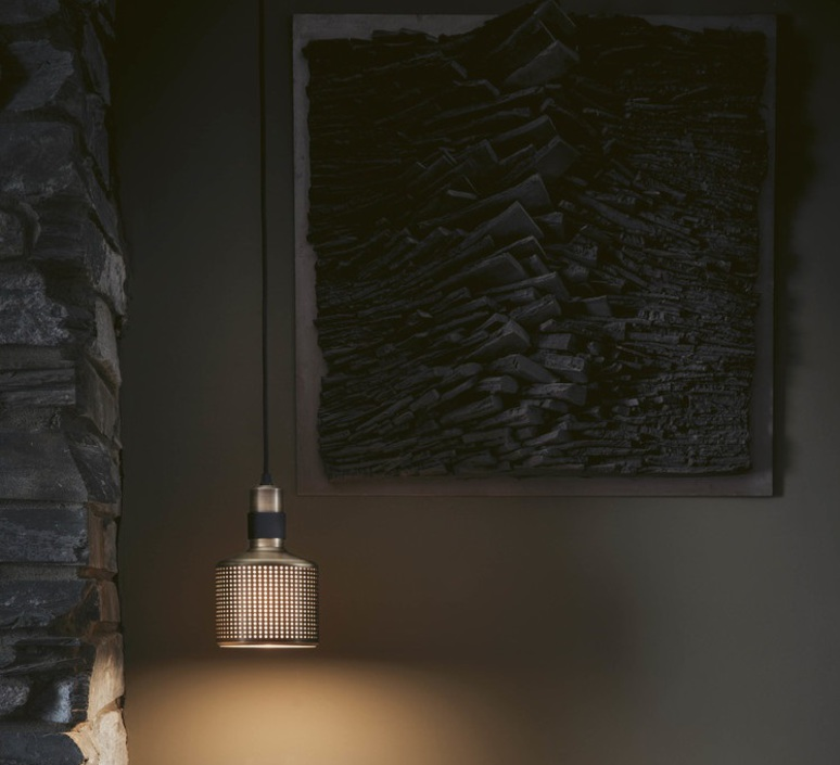 Riddle  suspension pendant light  bert frank riddle pendant lamp brass black  design signed 36077 product