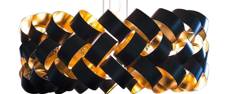 Suspension ring 800 noir et or o80cm h39cm palluco normal