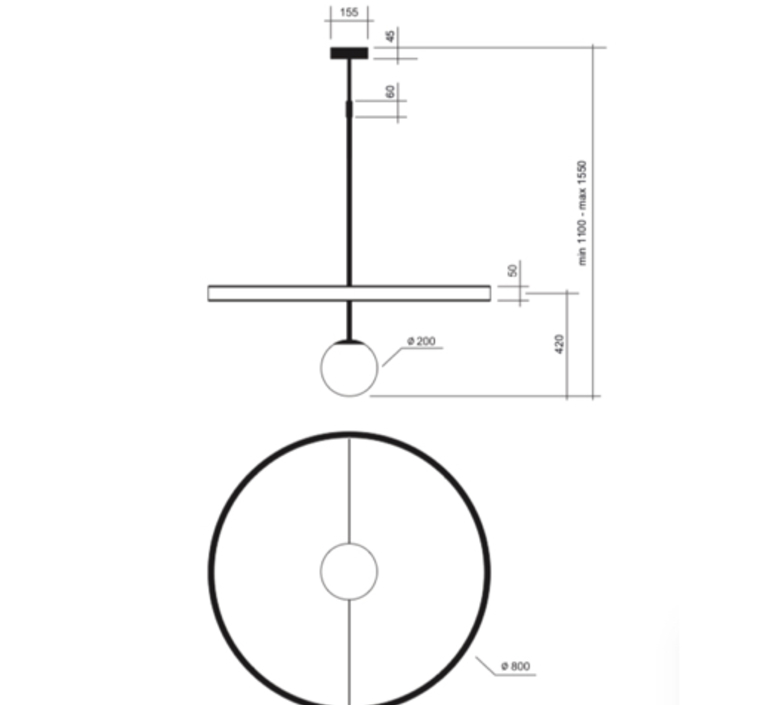 Ring gwendolyn et guillane kerschbaumer suspension pendant light  areti ring noir et blanc  design signed nedgis 64603 product