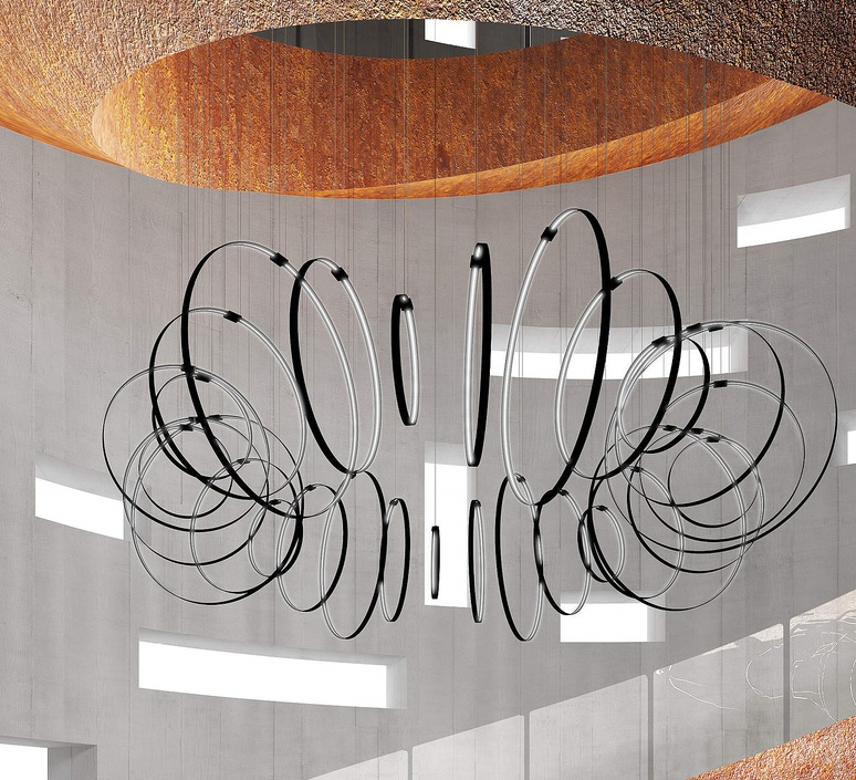 Rings valerio cometti zava rings d50cm jet black 9005 luminaire lighting design signed 17502 product