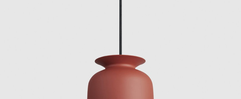 Suspension ronde 20 rouge poudre o20cm h24cm gubi normal
