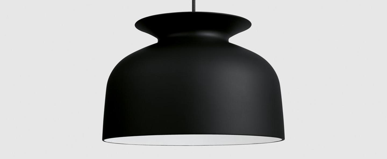 Suspension ronde 40 noir charbon o40cm h28cm gubi normal