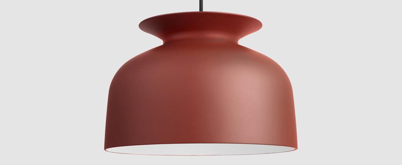 Suspension ronde 40 rouge rouille o40cm h28cm gubi normal