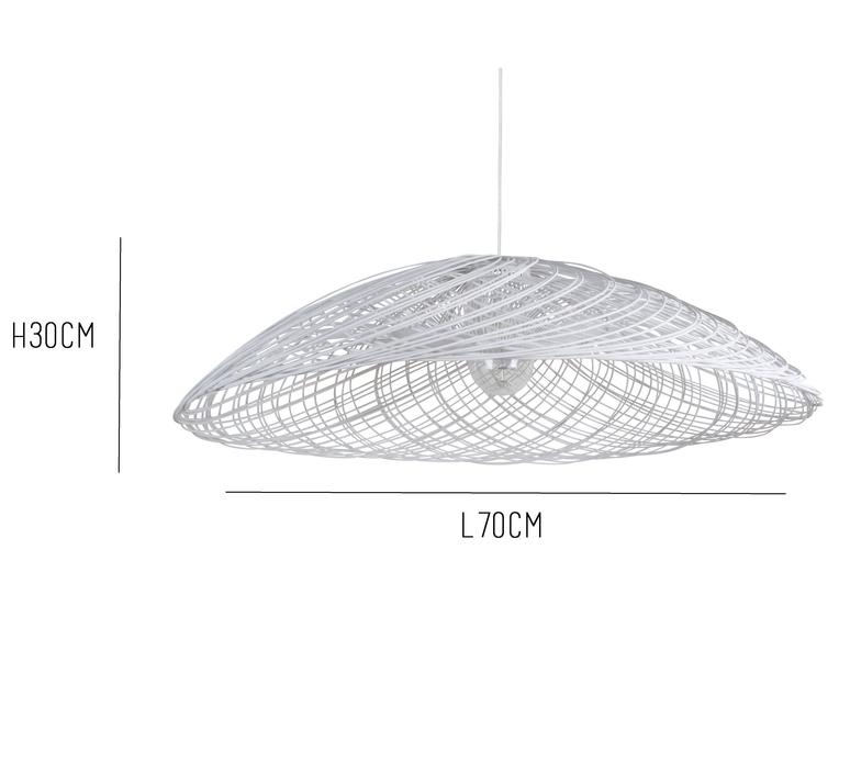 suspension rotin satelise mm white blanc 70cm. Black Bedroom Furniture Sets. Home Design Ideas