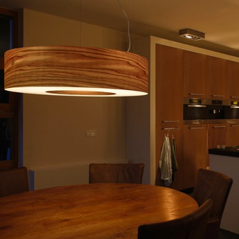 Suspension saturnia sg bois naturel de cerisier led dimmable o120cm h20cm lzf normal