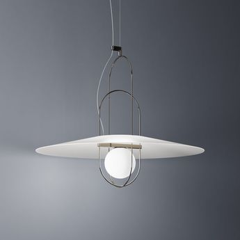 Suspension setareh chrome blanc led o85cm h69cm fontana arte normal