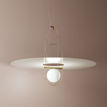 Suspension setareh disc or blanc led o100cm h54 4cm fontana arte normal