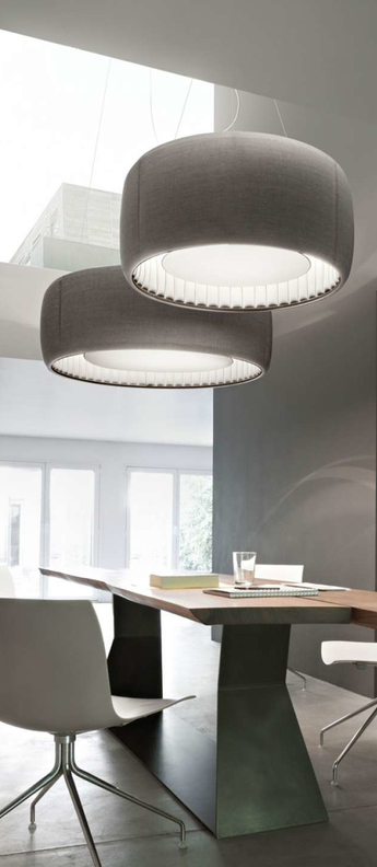 Suspension silenzio d79 90c gris clair led o90cm h45cm lucepan normal