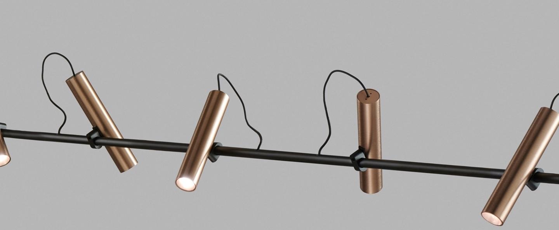 Suspension spirit s2000 noir rose dore led 2700k 2750lm l200cm h100cm light point normal
