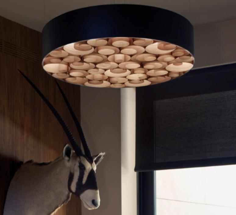 suspension spiro noir bois naturel de cerisier 75cm. Black Bedroom Furniture Sets. Home Design Ideas