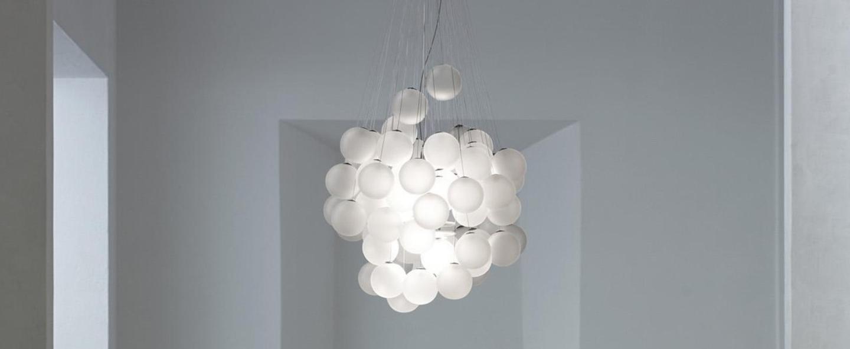 Suspension stochastic d87sg 72 spheres blanc opalin led 2700k 1541lm o50cm h60cm luceplan normal